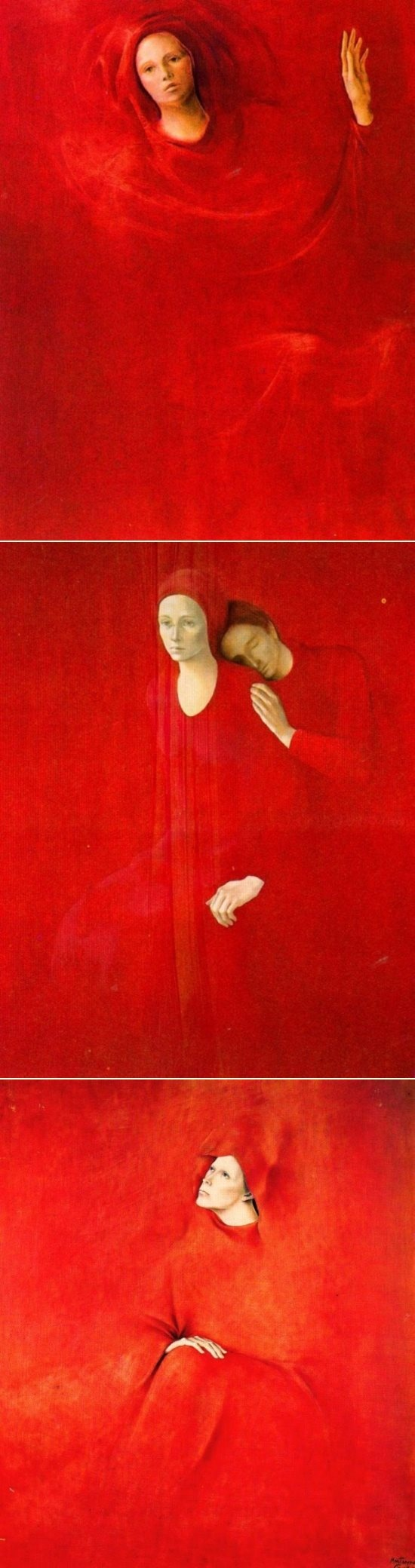 Tres figuras con fondo rojo.