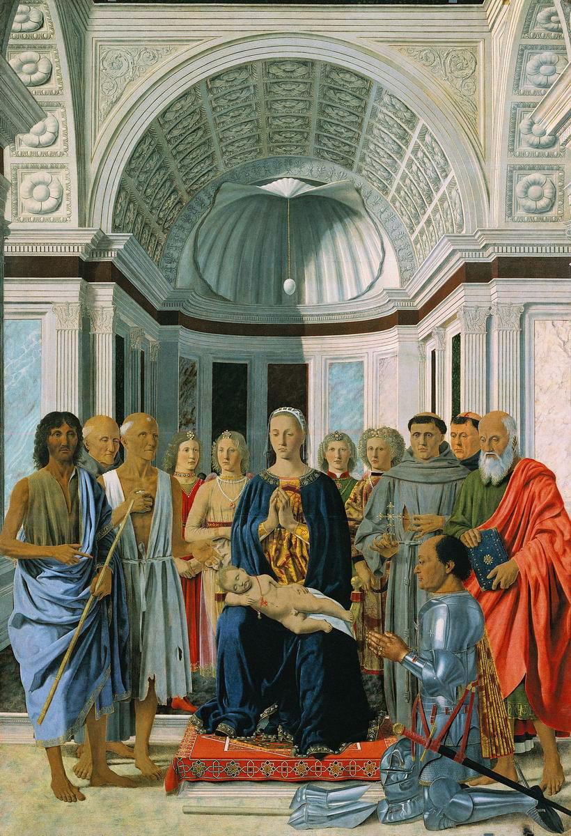 Virgen con ángeles, santos y Federico Montefeltro, 1469-72,óleo sobre tabla, 170 x 248, Milán, Pinacoteca Brera.