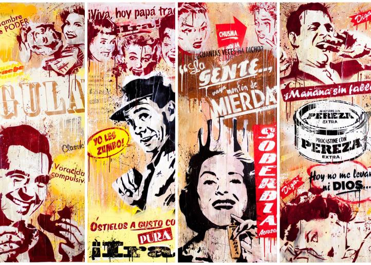 Detalle de Los Siete pecados capitales, por Sr. X, técnica mixta sobrelienzo, Galería Viky Blanco.
