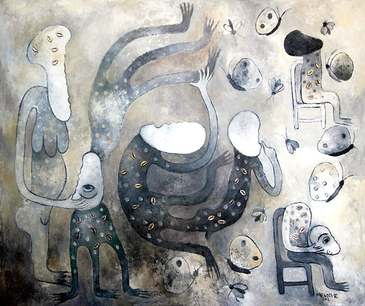 Aguas claras, acrílico sobre lienzo, 85 x 100 cm, 2012. Arriba, Ilusiones, acrílico sobre lienzo, 43 x 55, 2013. Todas las obras, de Manuel Mendive, cortesía de la galería Artizar.