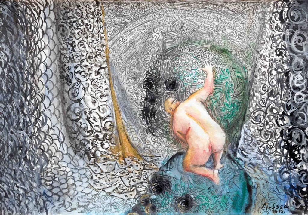 La cueva vertical, por Antonio Sosa, 2015, tinta china y acuarela sobre papel, 28 x 38 cm. Galería Cavecanem.