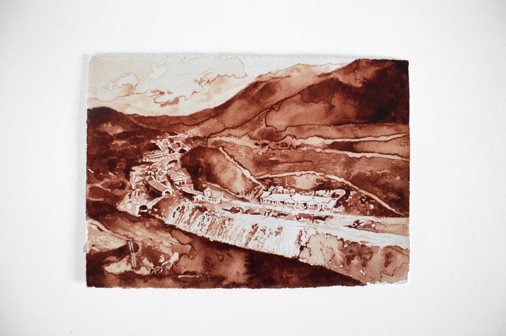 Engaña #4, por Javier Arce, 2015, sangre del artista sobre papel Hahnemühle, 20 x 30 cm. Galería Siboney.