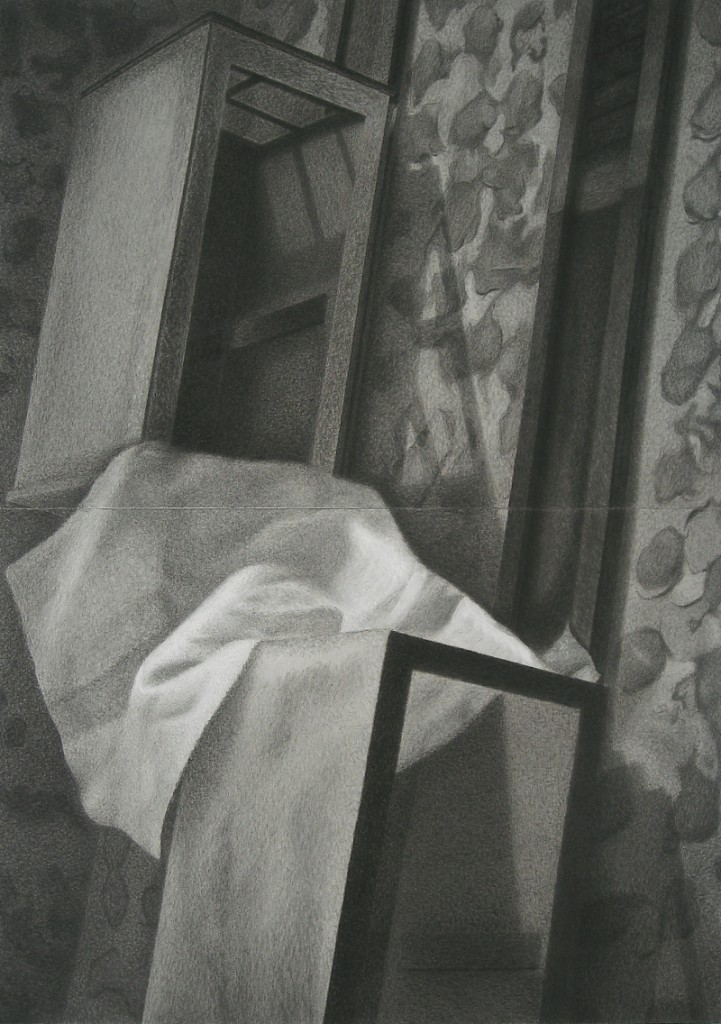 Campo de algodón, por José Miguel Pereñíguez, 2009, tiza, carbón y lápiz conté sobre cartón, 130 x 92 cm. Galería Rafael Ortiz.