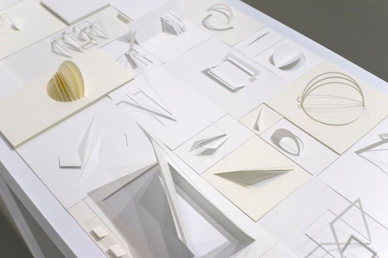 Metamorfosis silenciosas, por Liliana Zapata, 2015, esculturas en papel, 2 mesas de 50 x 150 cm cada una. Nube Gallery.