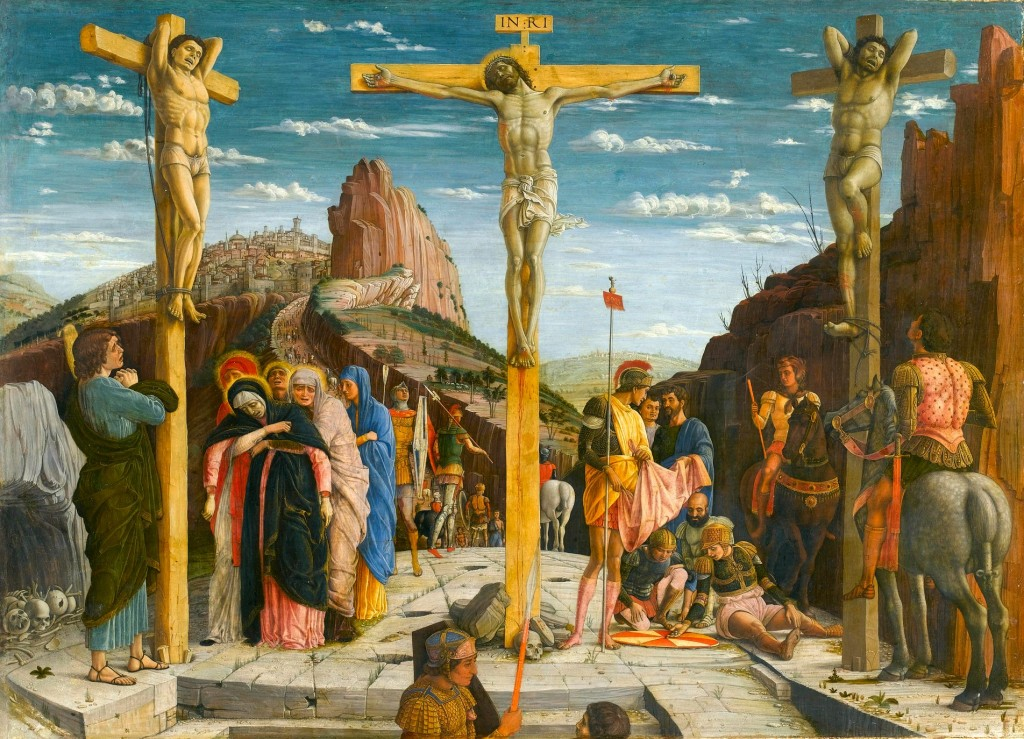 Crucifixión, de la predela del retablo de San Zenón, París, Museo del Louvre.