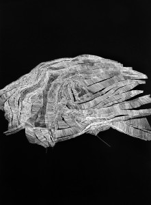 Tectónica del espacio 1, por Ruth Morán, 2015, temple vinílico, rotulador de plata sobre papel, 140 x 100 cm. Galería Sicart.