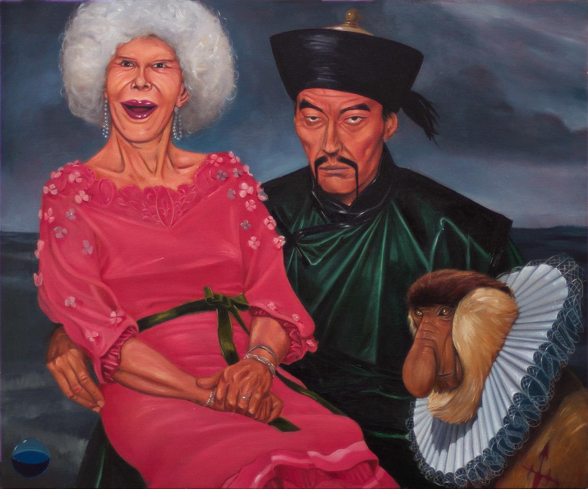 La nueva Corte (Los príncipes del mundo o Fumanchú Cazado), óleo sobre tabla 38 x 46 cm, 2014.