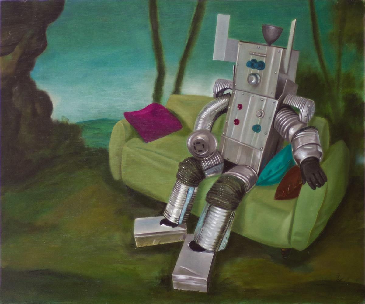 Picturator en el jardín (Las acenturas dominicales del robot saturnial), óleo sobre tabla, 38 x 46 cm, 2014, en