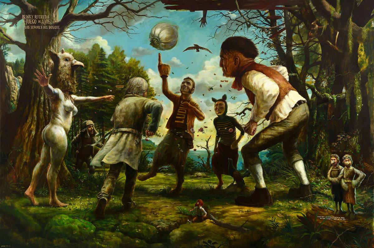 Blinky rotred y el juego de los ajos, de José Luis Serzo, óleo sobre lienzo, 200 x 300 cm, 2014.