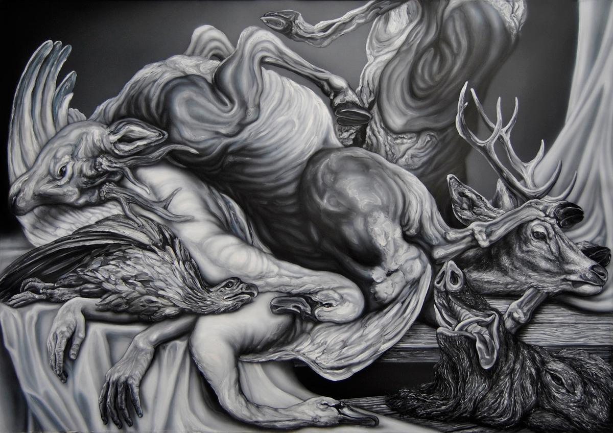 Masa de bestias apilada, de Miguel Scheroff, óleo sobre papel, 140 cm x 200 cm, 2014.