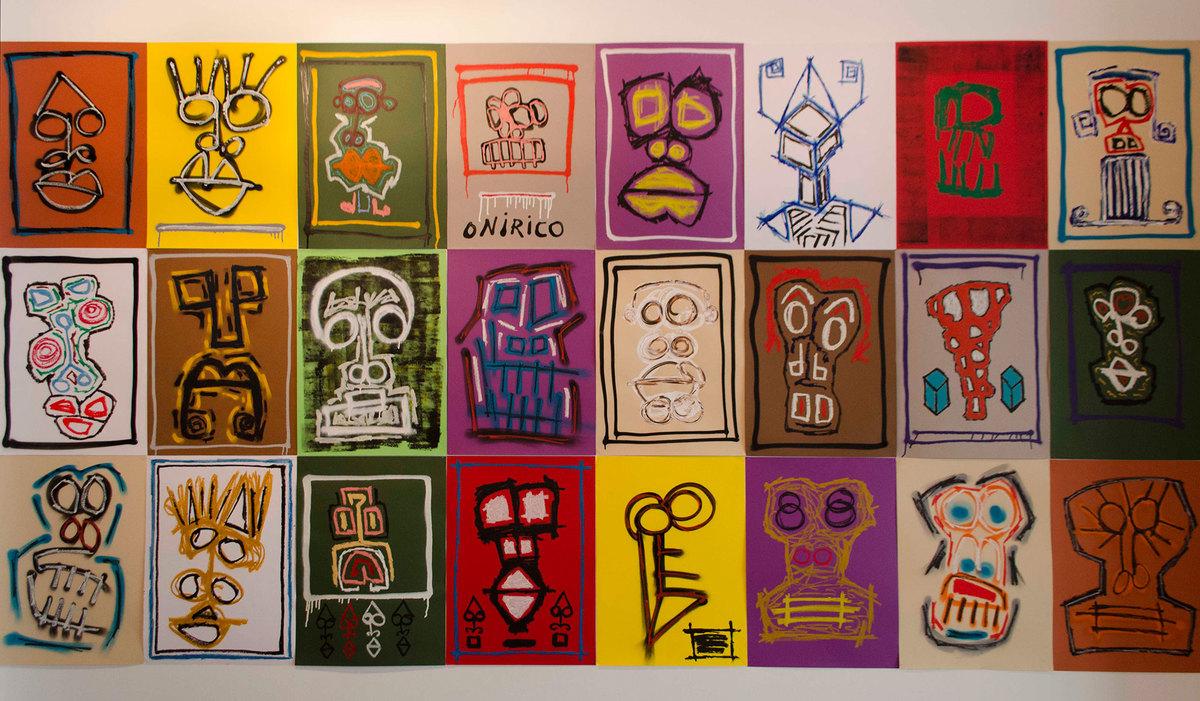 A Thousand Faces, de Raul, Mixed media on cardboard, 70 x 50 cm cada uno, 2014.
