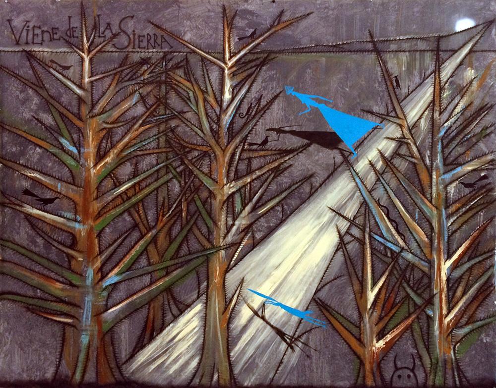 Viene de la sierra, de José Bedia, acrílico sobre lienzo, 180 x 233 cm, 2015.