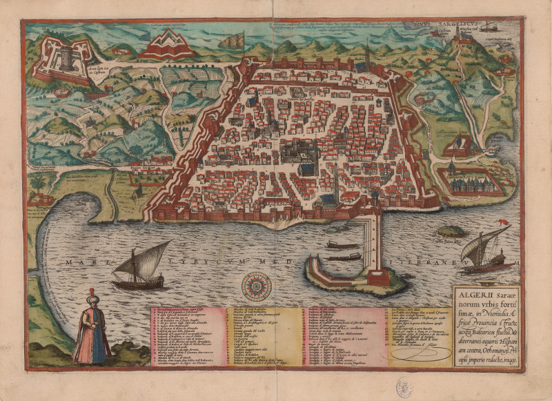 Plano de Argel, por Georg Braun. Civitates Orbis Terrarum, 1575. Biblioteca Nacional de España.