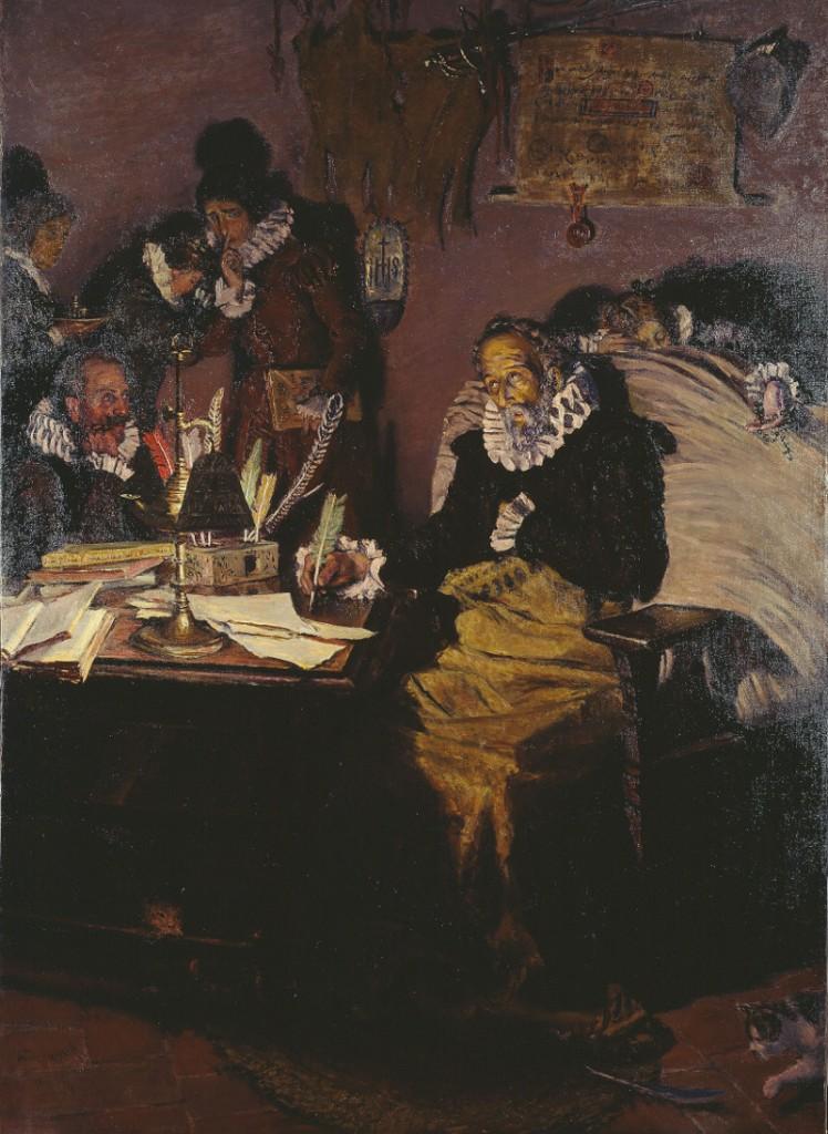 Cervantes escribiendo la dedicatoria de su obra al conde de Lemos, por Antonio Muñoz Degraín, 1916, óleo, Biblioteca Nacional de España.