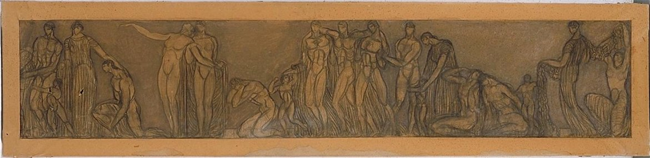 Boceto del friso inferior frontal derecho del proyecto Monumento a Cervantes presentado por Julio Antonio y el arquitecto Antonio Flórez, 1916, dibujo, Museo Nacional Centro de Arte Reina Sofía.