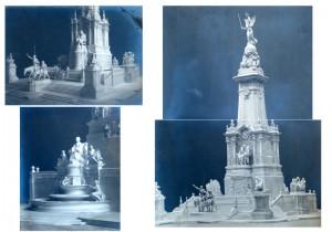 Fotografías de la maqueta del proyecto del Monumento a Cervantes presentada por Lorenzo Coullaut Valera y el arquitecto Rafael Martínez, 1915.