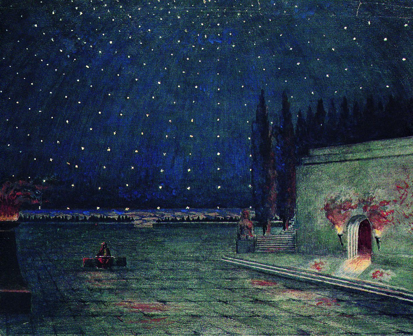 Boceto de escenografía de Max Kruse para la obra de Max Reinhardt, Universidad de Colonia.