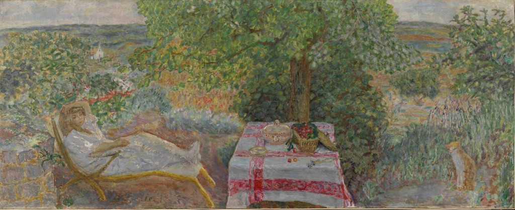 Descansando en el jardín, por Pierre Bonnard, 1914, óleo sobre lienzo, 100,5 x 249 cm, The National Museum of Art, Architecture and Design, Oslo. © ADAGP, Paris and DACS, London 2015.