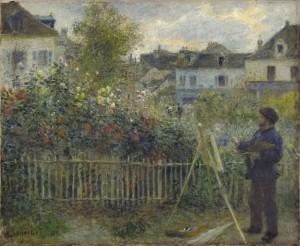Monet pintado en su jardín en Argenteuil, por Pierre-Auguste Renoir, 1873, óleo sobre lienzo, 46,7 x 59,7 cm, Wadsworth Atheneum Museum of Art, Hartford, CT.