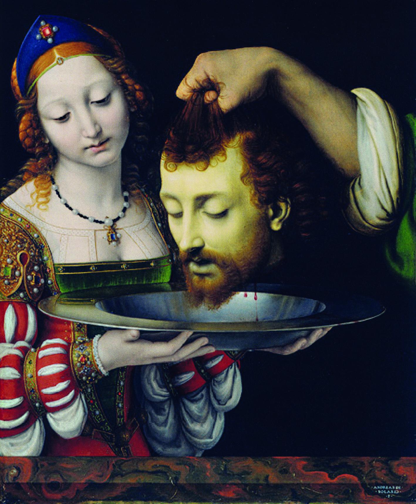 Salomé con la cabeza del Bautista, de Andrea Solario, 1506-1507, Nueva York, Metropolitan Museum. Arriba, Victoria Vera en la danza de los siete velos, en la obra Salomé de Oscar Wilde.