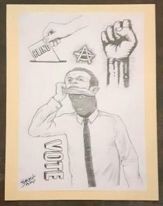 Política, por Eduardo Bertone, lápiz sobre papel, 29,5 x 21 cm.