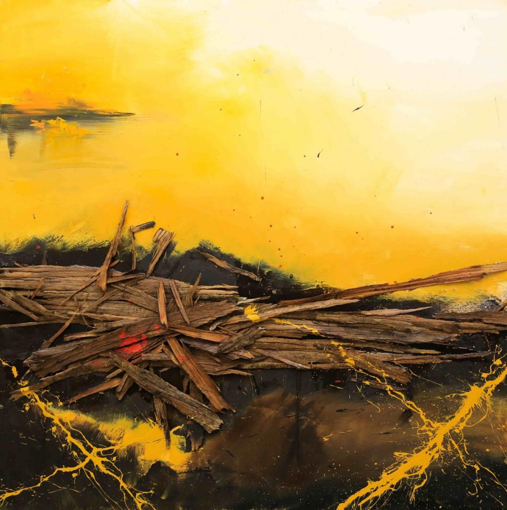 Rising Sun, técnica mixta sobre tabla, 100 x 100 cm.