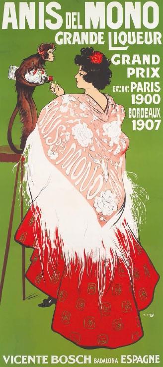 Anis del mono. Liqueur, por Ramon Casas, París, h. 1907, cromolitografía sobre papel, Lit. Robert & Cie, 236,5 x 111 cm, Col. Marc Martí.