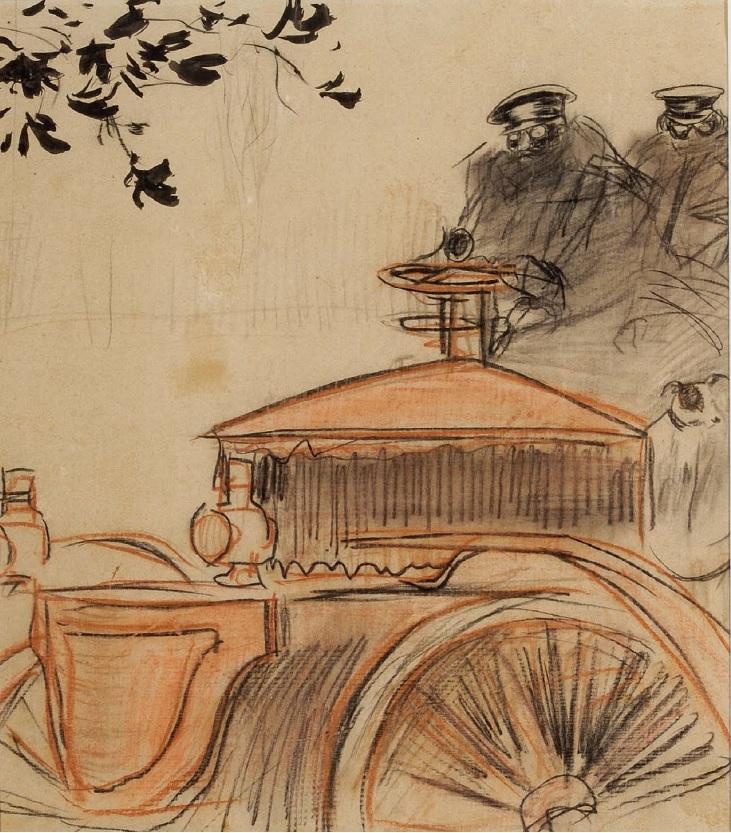 El automóvil, por Ramon Casas, 1896, carbón y cera sobre papel, 28 x 24 cm, colección particular.