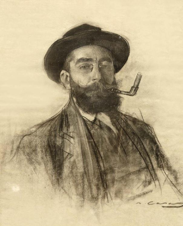 Autorretrato, por Ramon Casas, 1910, carbón sobre papel.