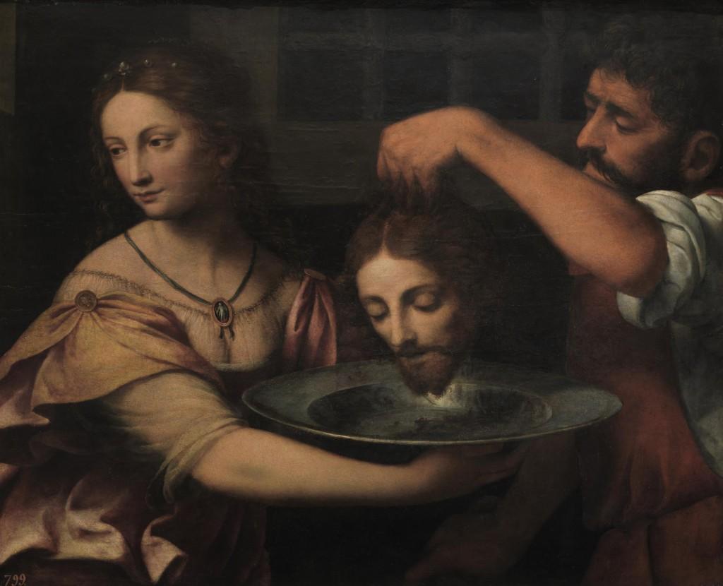 Salomé recibiendo la cabeza del Bautista, de Bernardino Luini, principios del siglo XVI, óleo sobre tabla, 62 x 78 cm, Museo del Prado, Madrid.