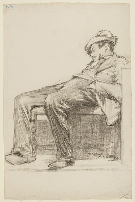 Apunte hombre dormido, por Miguel Blay y Fábrega, lápiz compuesto sobre papel verjurado con filigrana, 485 x 312 mm, 1894, Madrid, Museo Nacional del Prado.