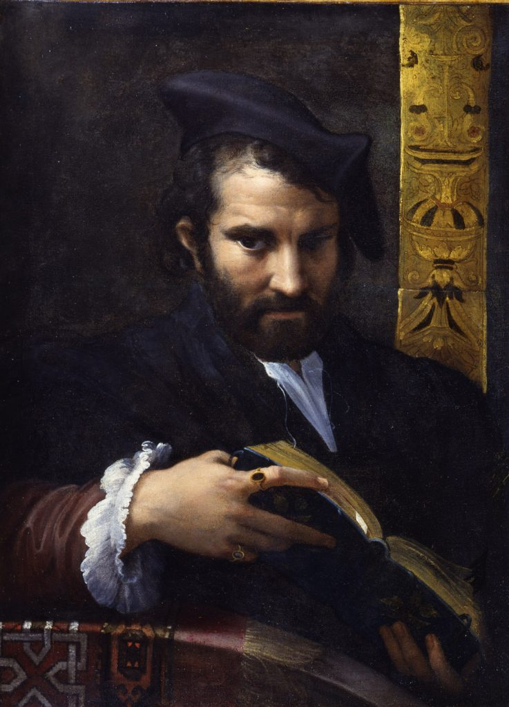 Retrato de un hombre con un libro, de Parmigianino, óleo sobre lienzo, 70 x 52 cm, York Museums Trust (York Art Gallery). Presented by F.D. Lycett Green through The Art Fund, 1955.
