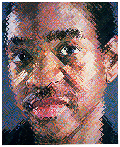 Lyle, por Chuck Close, 1999, óleo sobre lienzo, Nueva York, Whitney Museum of American Art.