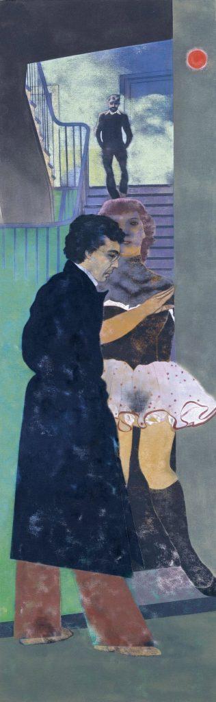 El griego de Esmirna (Nikos), de Ronald B. Kitaj, 1976-77, óleo sobre lienzo, 243,8 x 76,2 cm, Madrid, Museo Thyssen-Bornemisza.
