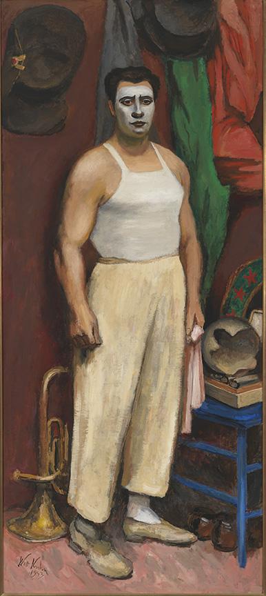 Payaso en su camerino, por Walt Kuhn, 1943, óleo sobre lino, Nueva York, Whitney Museum of American Art.