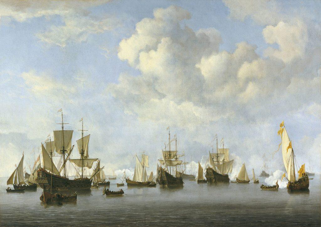 La flota holandesa en Goeree, de Willem van de Velde II, h. 1672-73, óleo sobre lienzo, 69,5 x 97,8 cm, Madrid, Museo Thyssen-Bornemisza.