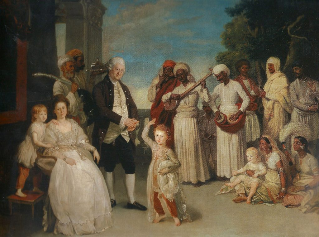 Retrato de grupo con sir Elijah y lady Impey, de Johan Zoffany, h. 1783-84, óleo sobre lienzo. 91,5 x 122 cm, Madrid, Museo Thyssen-Bornemisza.