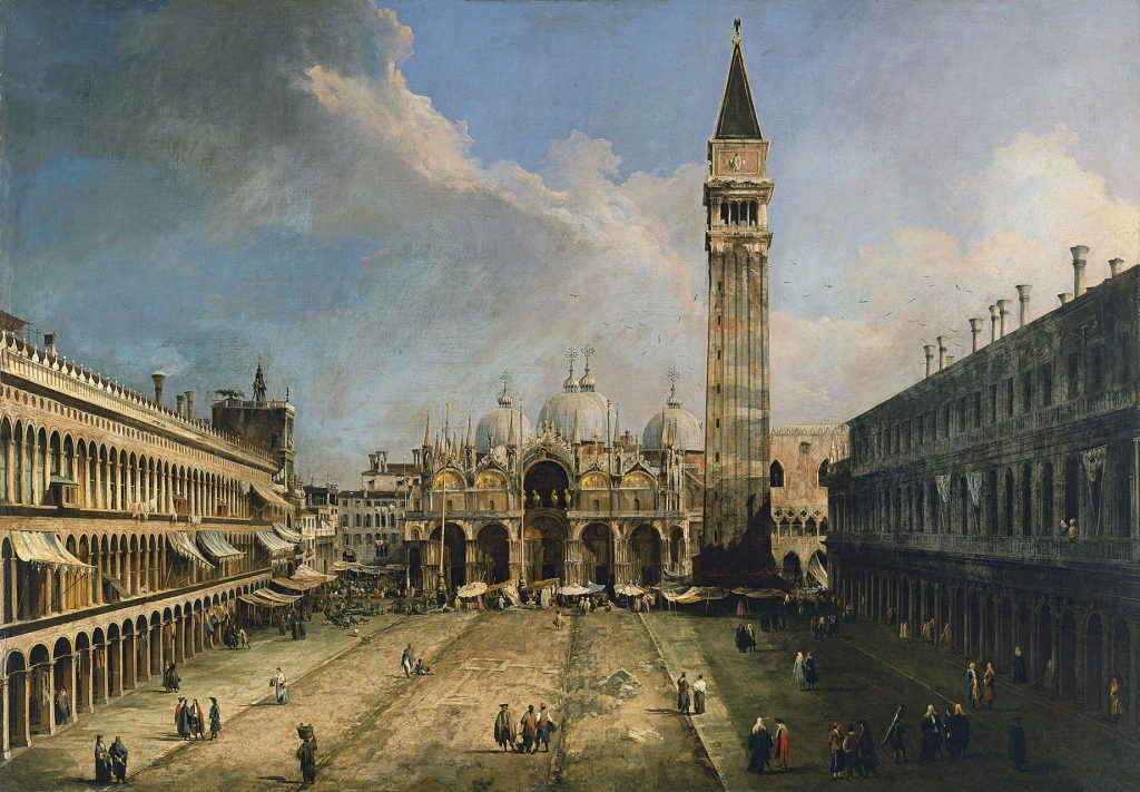 La plaza de San Marcos en Venecia, de Canaletto, h. 1723-24, óleo sobre lienzo, 141,5 x 204,5 cm, Madrid, Museo Thyssen-Bornemisza.