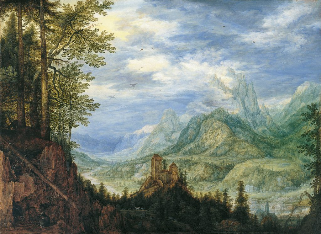 Paisaje montañoso con un castillo, de Roelandt Savery, 1609, óleo sobre tabla, 45,6 x 63 cm, Madrid, Museo Thyssen-Bornemisza.