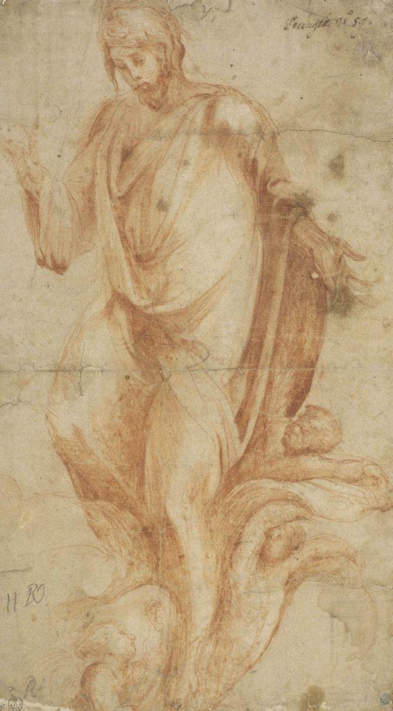 "Alonso Berruguete (Paredes de Nava, Palencia), h. 1488- Toledo, 1561), ""Cristo Salvador"", h. 1555, Sanguina, lápiz negro sobre papel verjurado, Florencia, Galería de los Uffizi, Gabinetto Disegni e Stampe."