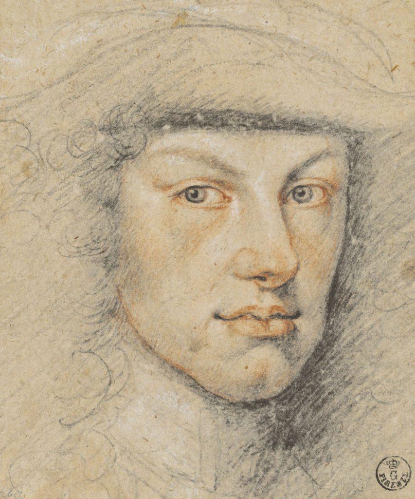 """Miguel Jacinto Meléndez (Oviedo, 1679-Madrid, 1734), """"Felipe V"""", h. 1712, lápiz negro, sanguina, clarión sobre papel agarbanzado."""