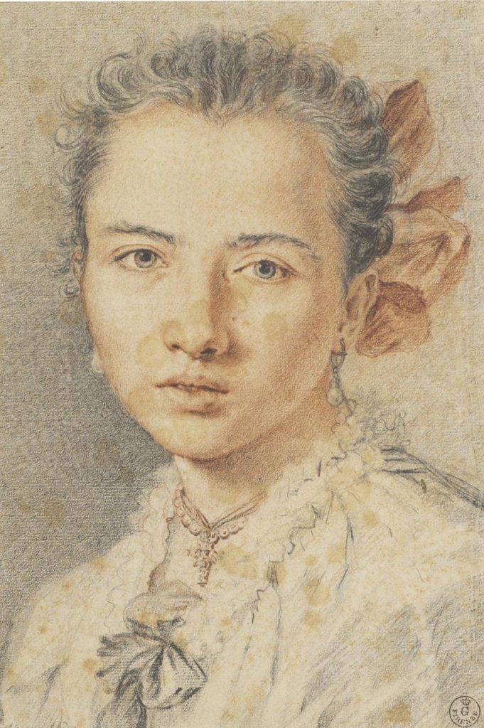 """Miguel Jacinto Meléndez, """"Retrato de muchacha"""", h. 1727-30, lápiz negro y sanguina sobre papel blanco verdugado."""