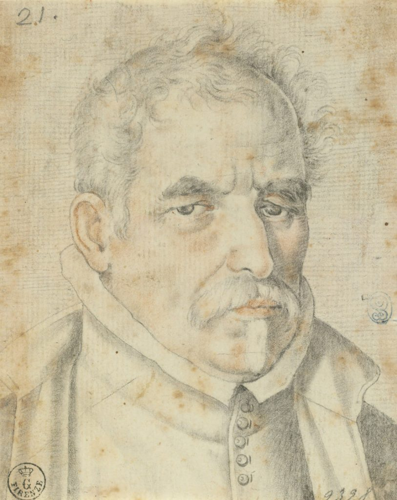 "Francisco Pacheco (Sanlúcar de Barrameda, Cádiz, 1564-Sevilla, 1644), ""Retrato de Pablo de Céspedes"", h. 1600, lápiz negro y sanguina sobre papel verjurado."