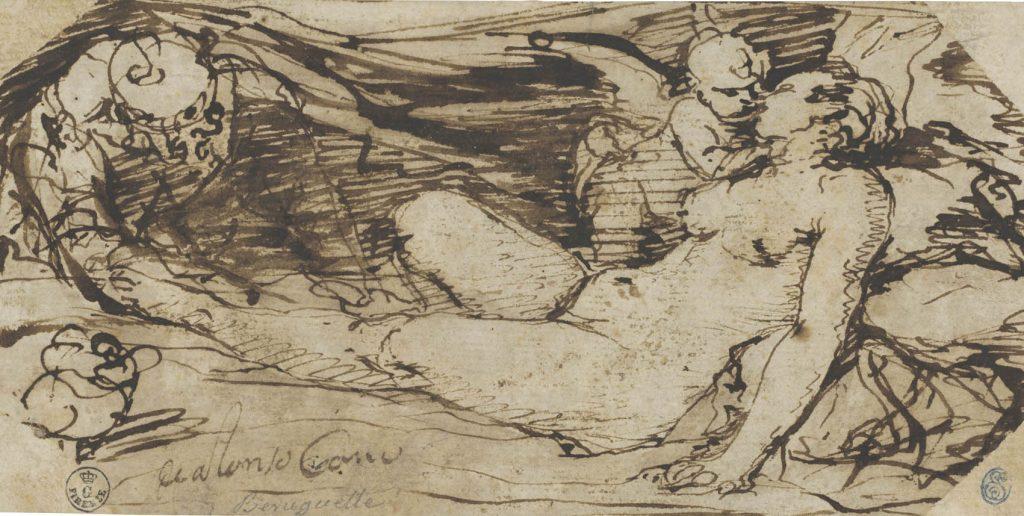 """Alonso Cano (Granada, 1601-1667), """"Venus, Cupido y un sátiro"""", h. 1655-60, pluma de caña de tinta parda sobre papel verjurado."""