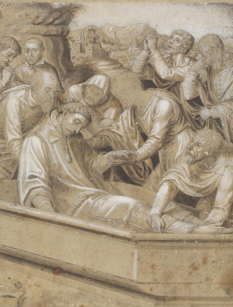 """Juan de Juanes (Valencia, h. 1510-Bocairent, Valencia, 1579), """"Entierro de san Esteban"""", h. 1570, lápiz negro, pluma y aguada de tinta parda con realces de albayalde sobre papel preparado."""