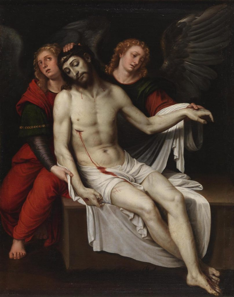 Cristo muerto sostenido por dos ángeles, de Francisco Ribalta, principios del siglo XVII, óleo sobre lienzo, 113 x 90 cm, Madrid, Museo del Prado.