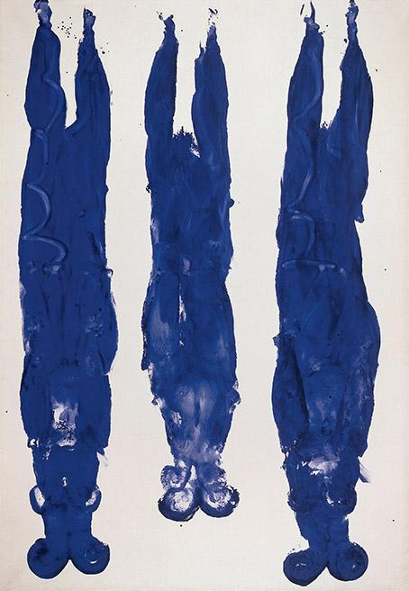 Antropometría sin título (ANT 89), por Yves Klein, 1961, pigmento y resina en papel sobre lienzo, 221 x 151 cm, © Yves Klein, ADAGP, Paris/DACS, Londres.
