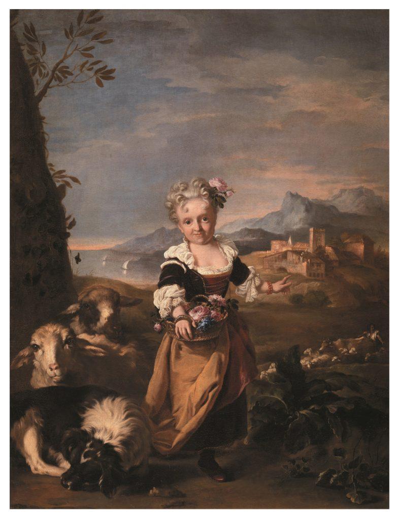 Retrato de Angiola Biondi, enana de Violante de Baviera, Niccolò Cassana, anterior a 1707, óleo sobre lienzo.