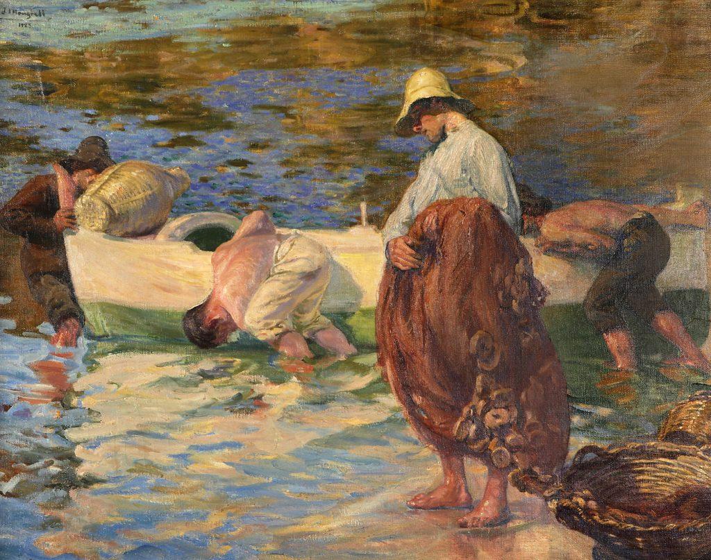 En la cala del Ros, Cadaqués, de José Mongrell Torrents, 1923, óleo sobre lienzo, 90 x 1205 cm. Arriba, Puerto de Barcelona, de Ricard Martí Aguiló, hacia 1878, óleo sobre lienzo, 35 x 70 cm.