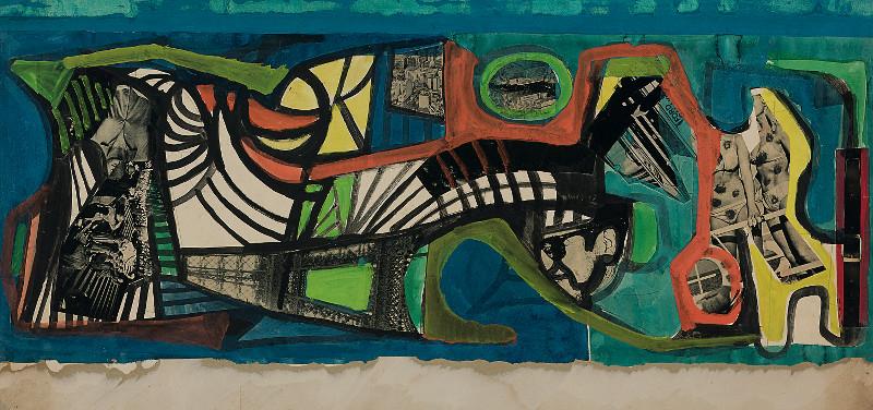 Sin título, posiblemente un estudio para Carnaval, por Roberto Burle Marx, h. 1967, gouache y collage sobre papel, 55,2 × 107 cm, Sítio Roberto Burle Marx, Rio de Janeiro.